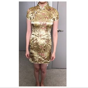Dresses & Skirts - Traditional Chinese Gold + Copper Short Qipao